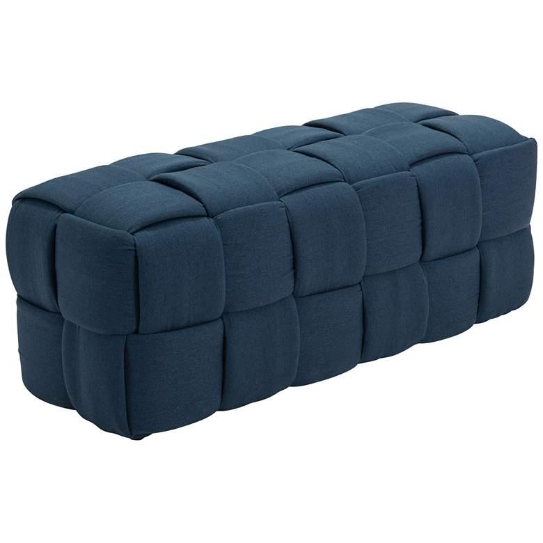 Zuo Checks Navy Blue Weave Rectangular Bench