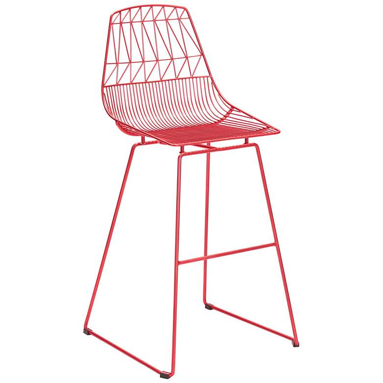 "Zuo Brody 29 1/4""H Red Indoor-Outdoor Bar Chair"