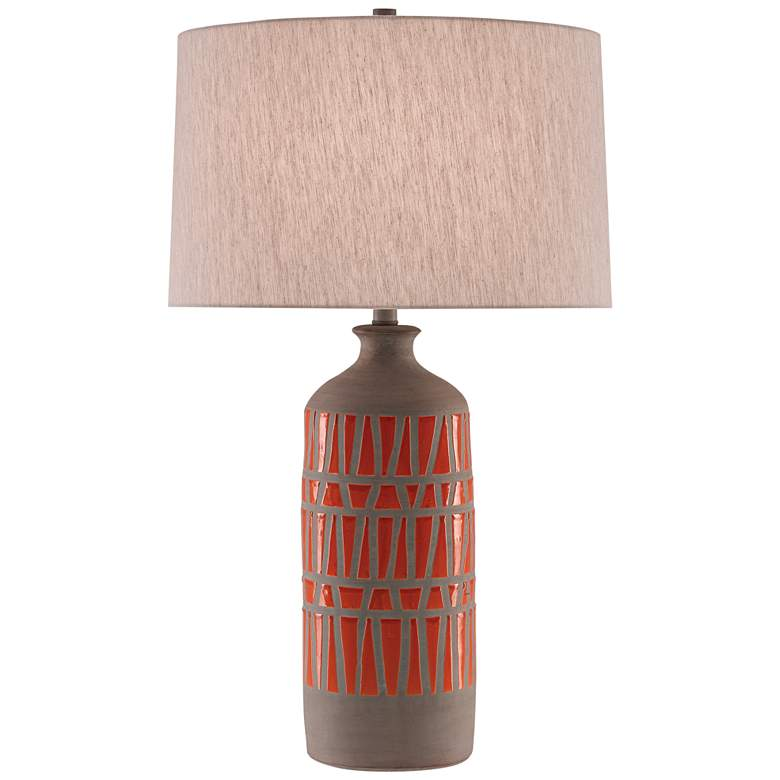 Currey and Company Cueva Orange and Natural Gray Table Lamp