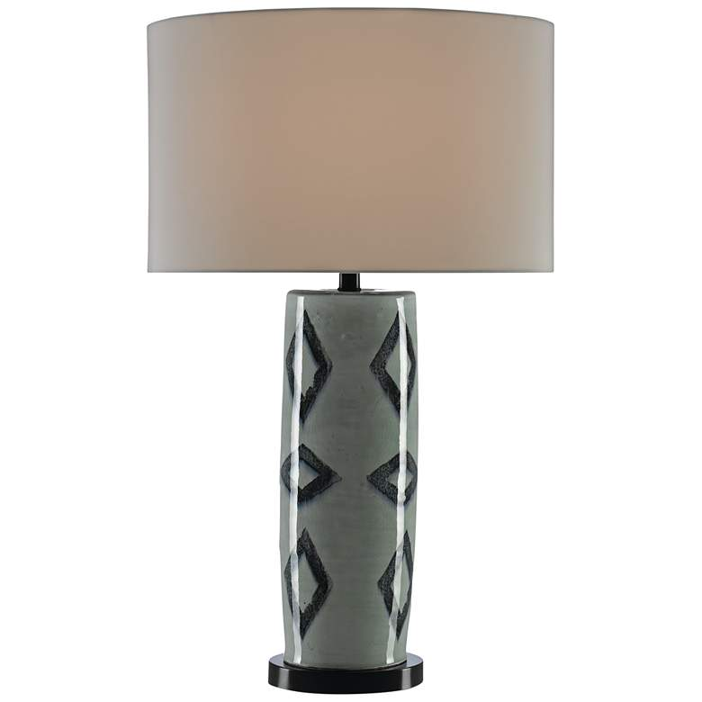 Currey and Company Greer Light Gray Crackle Table Lamp