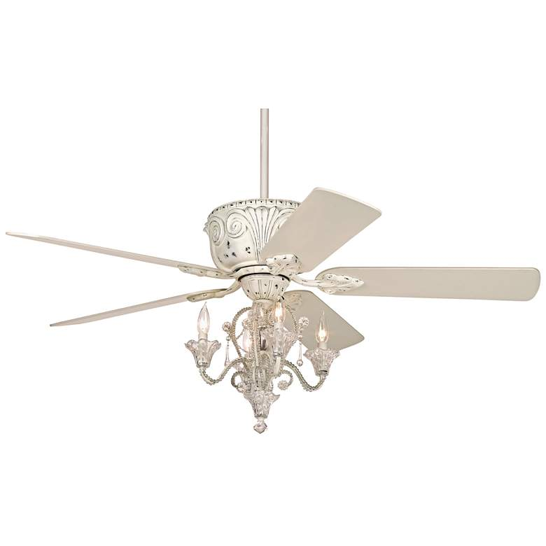 """52"""" Casa Deville White Ceiling Fan with Pull Chain LED Kit"""