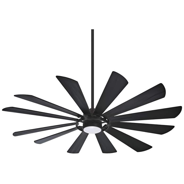 """65"""" Minka Aire Windmolen Textured Coal Smart Fan LED Wet Ceiling Fan"""