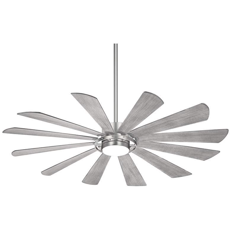 """65"""" Minka Aire Windmolen Brushed Steel Smart Fan LED Wet Ceiling Fan"""