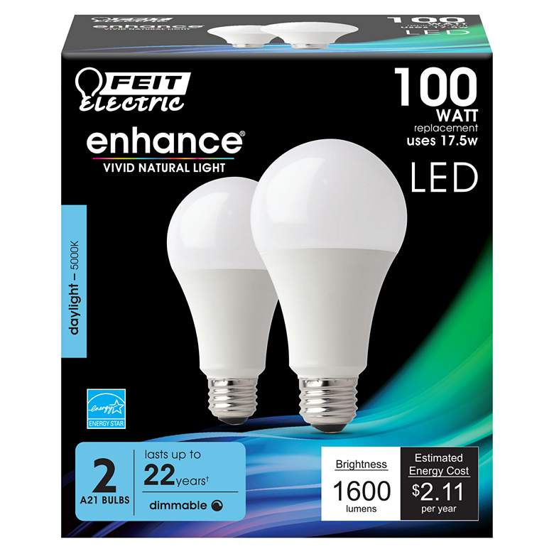 100W Equivalent Frosted 17.5W LED Dimmable Standard 2-Pack