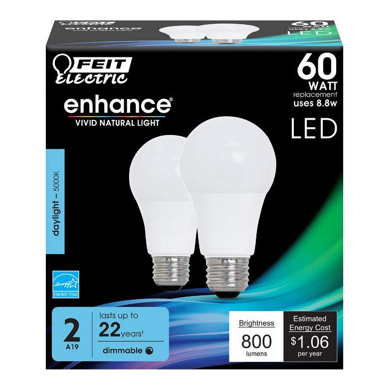 60W Equivalent Frosted 8.8W LED Dimmable Standard 2-Pack