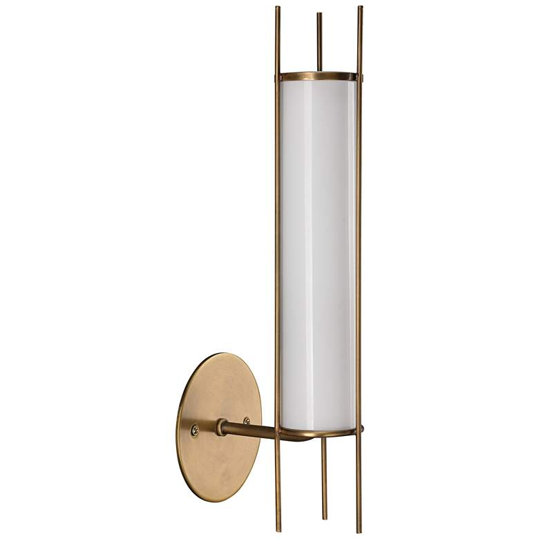 "Italo 15 1/4"" High Antique Brass Cylinder Wall"