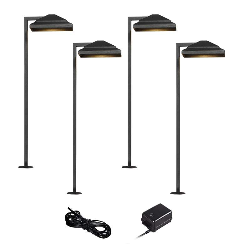 Basset Textured Black 6-Piece LED Landscape Path Light Set