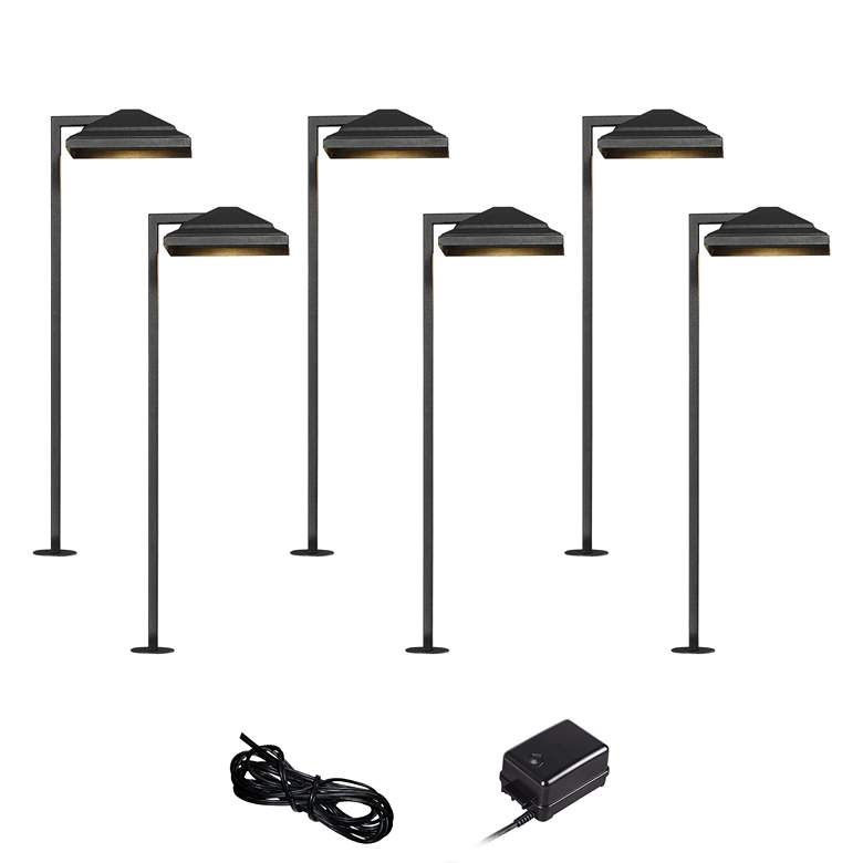 Basset Textured Black 8-Piece LED Landscape Path Light