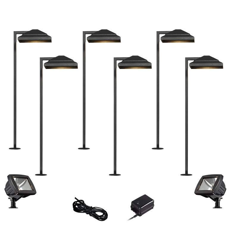 Basset Textured Black 10-Piece LED Path and Flood