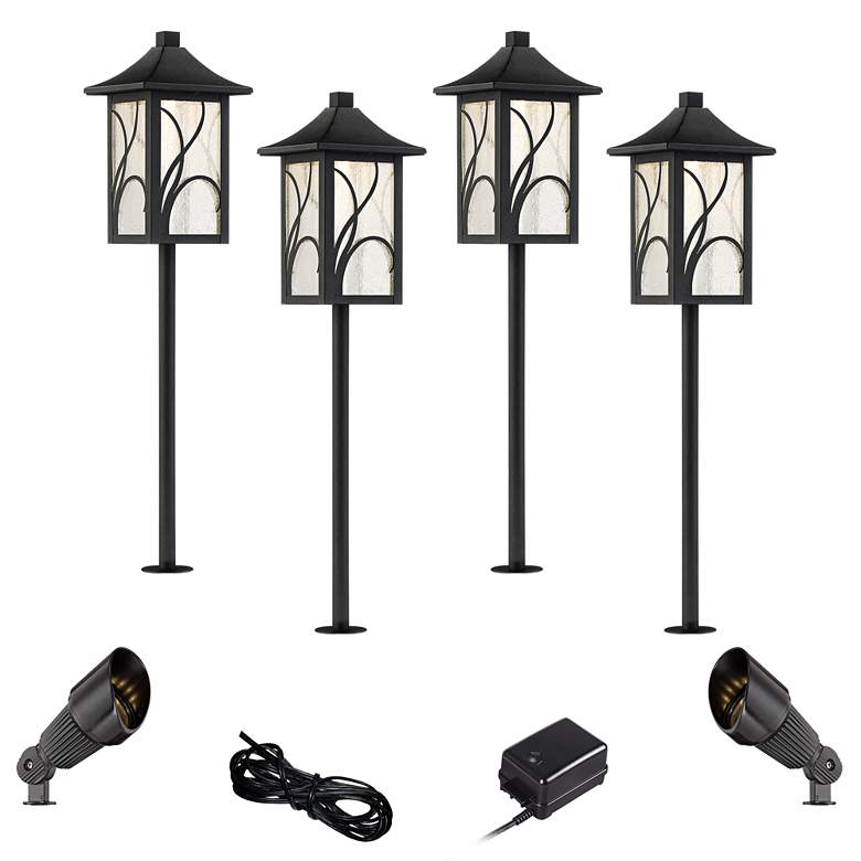 Sleator Textured Black 8-Piece LED Path and Spot Light Set