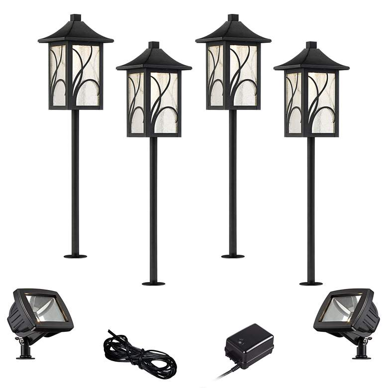 Sleator Textured Black 8-Piece LED Path and Flood Light Set