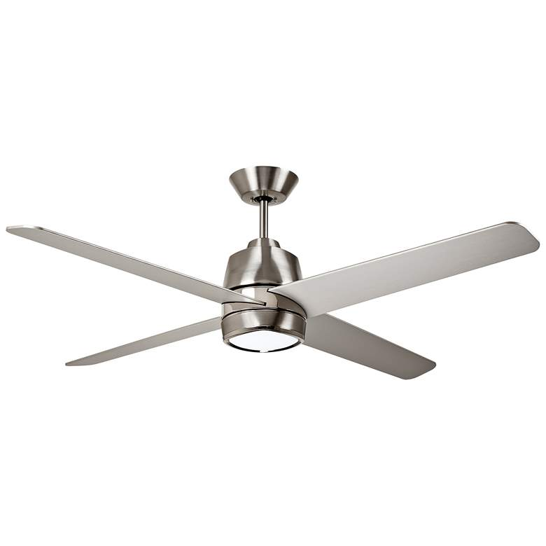 "54"" Zeke Brushed Steel and Polished Nickel LED Ceiling Fan"