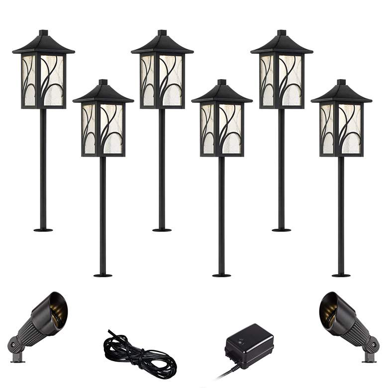 Sleator Textured Black 10-Piece LED Path and Spot Light Set