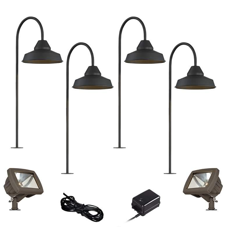 Westley Black 8-Piece LED Landscape Path and Flood Light Set