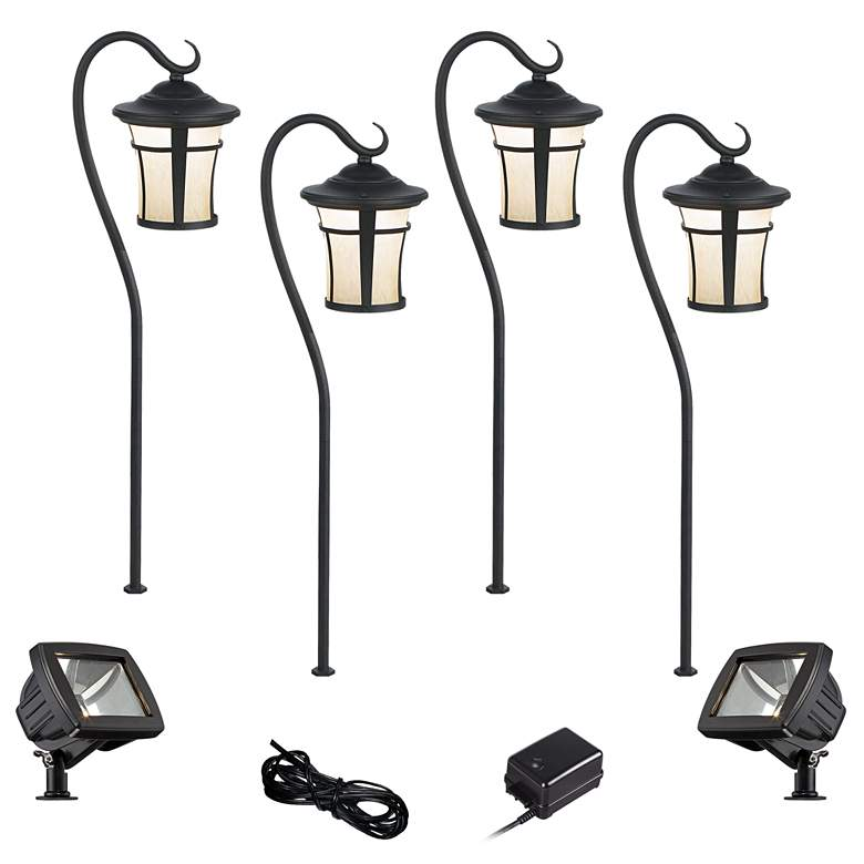 Carriage Textured Black 8-Piece LED Path and Flood Light Set