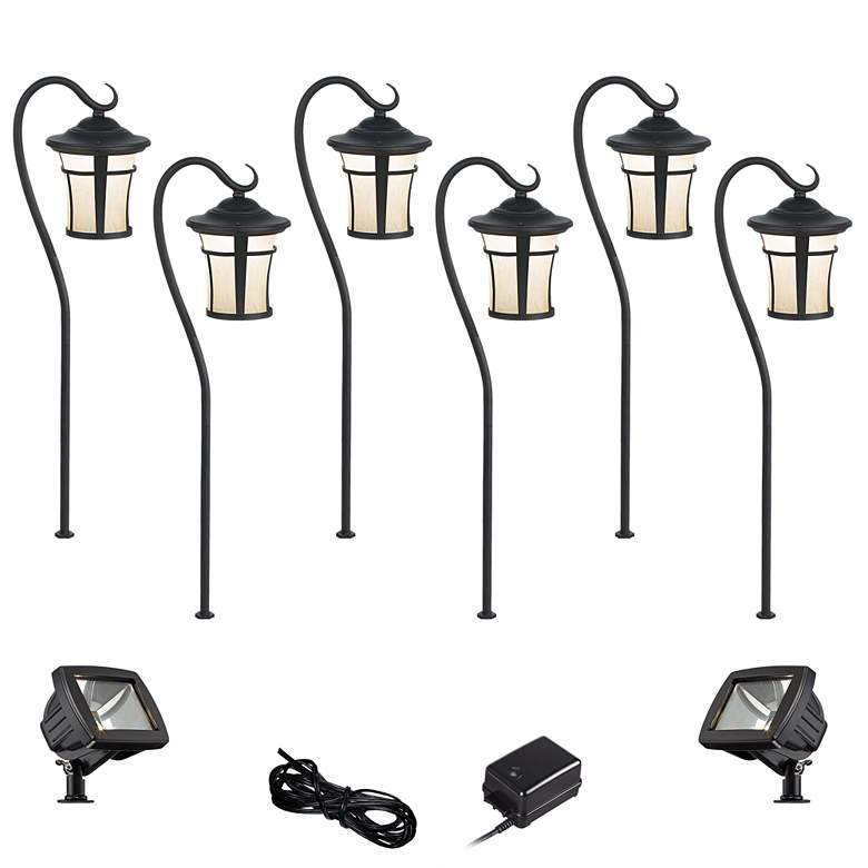 Carriage Textured Black 10-Piece LED Path w/ Flood