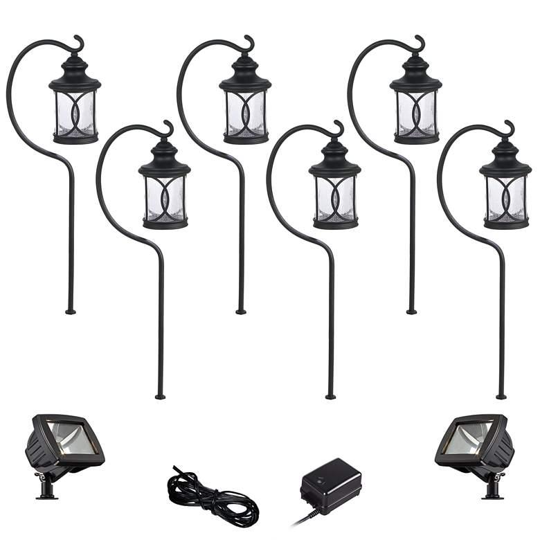 Capistrano Black 10-Piece LED Path and Flood Light Set