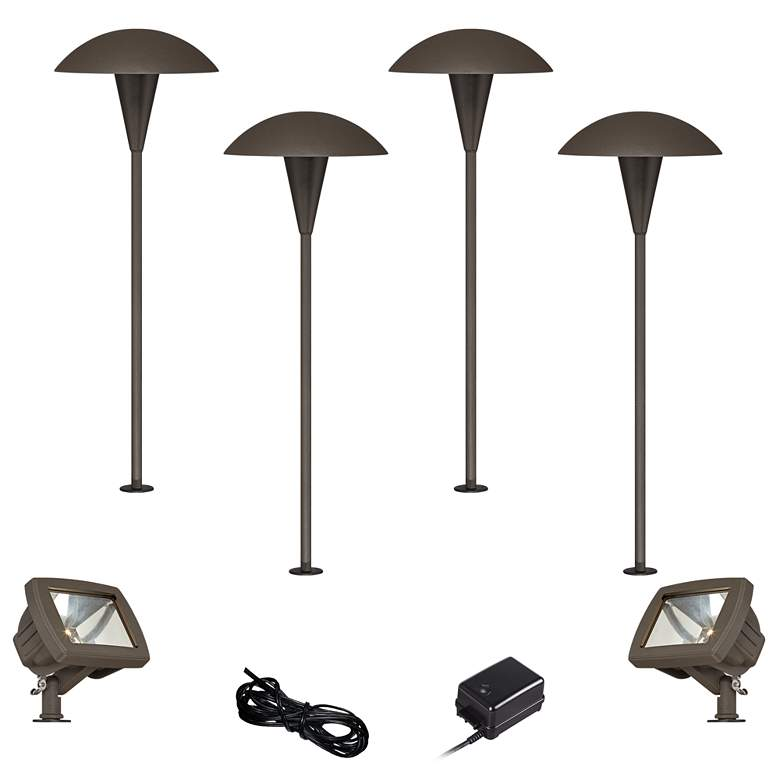 Mushroom Bronze 8-Piece LED Path and Flood Light Set