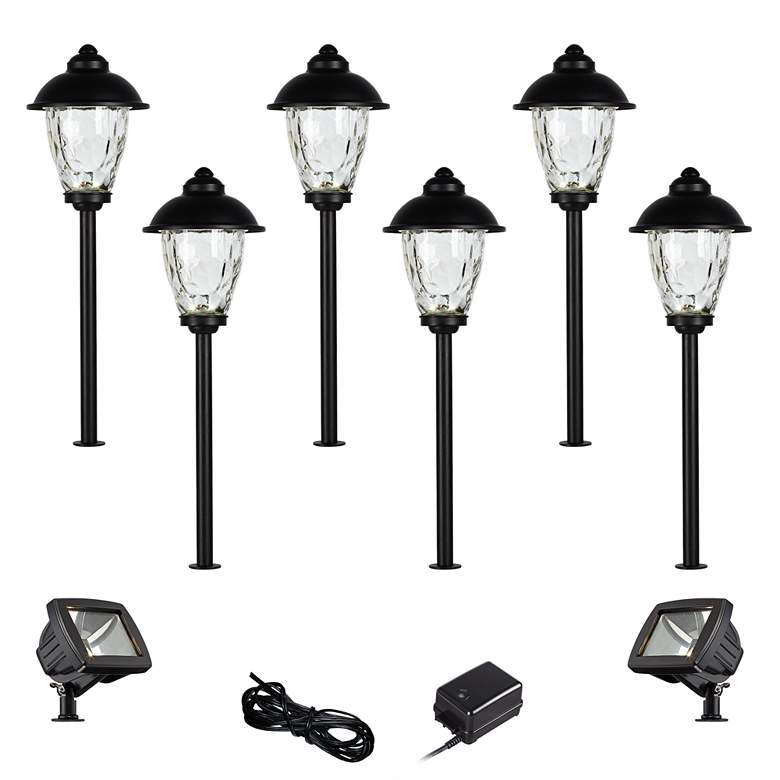 Concord Black 10-Piece LED Landscape Path w/ Flood Light Set