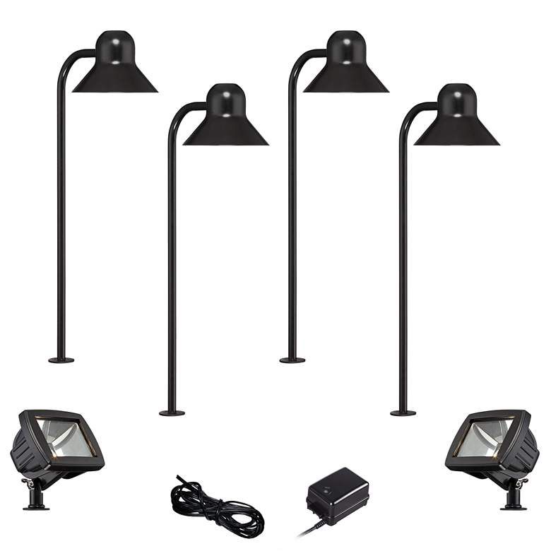 Jayce Black 6-Piece LED Landscape Path and Flood Light Set