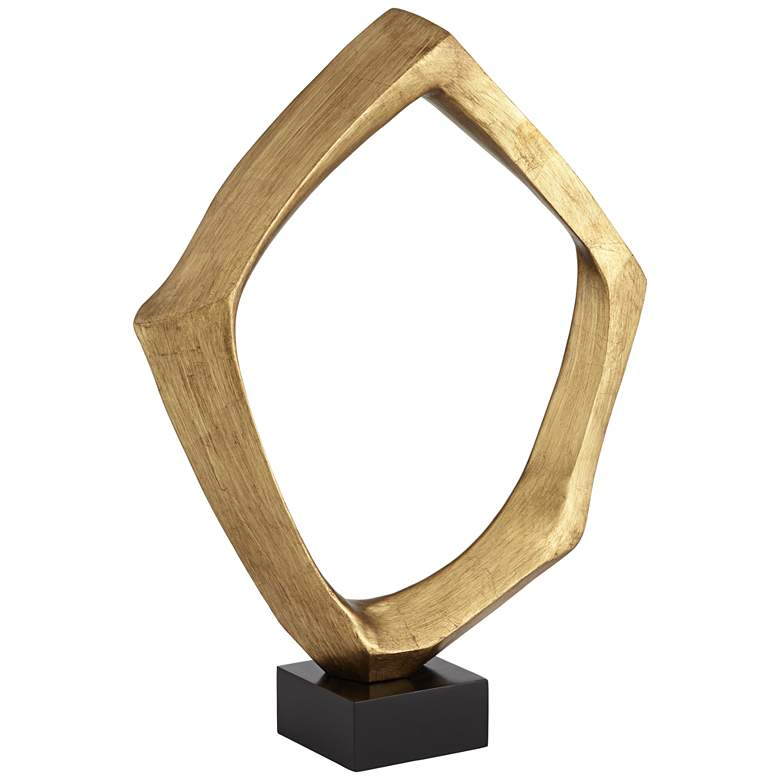 """Abstract 23 3/4"""" High Gold Leaf """"O"""" Sculpture"""