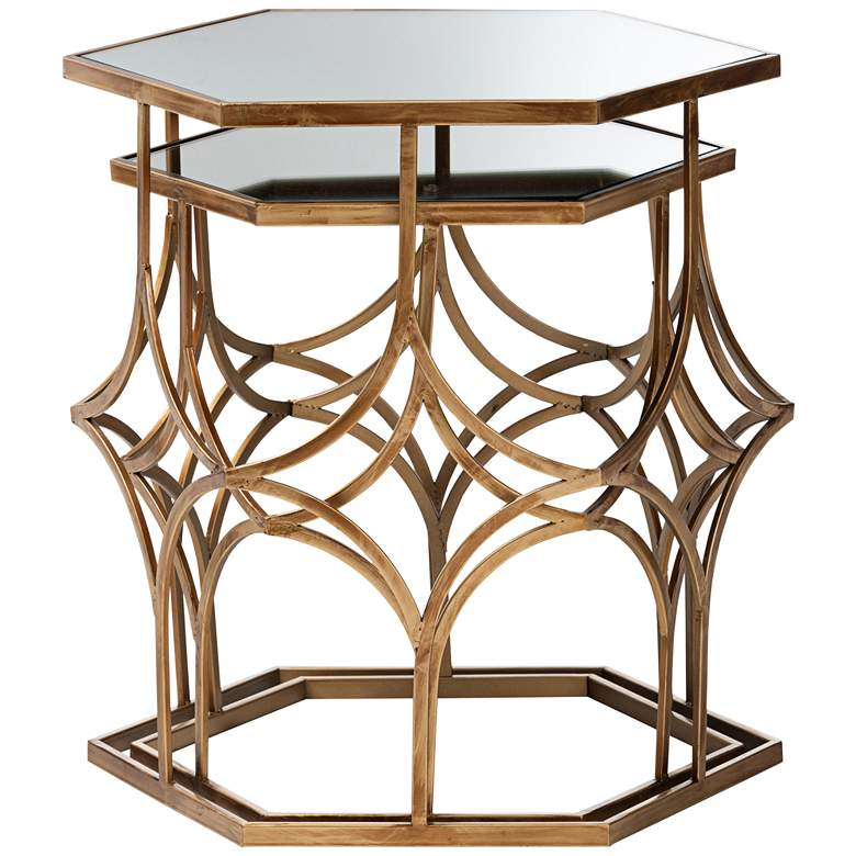 Sada Antique Gold Stackable Mirrored Accent Tables Set of 2