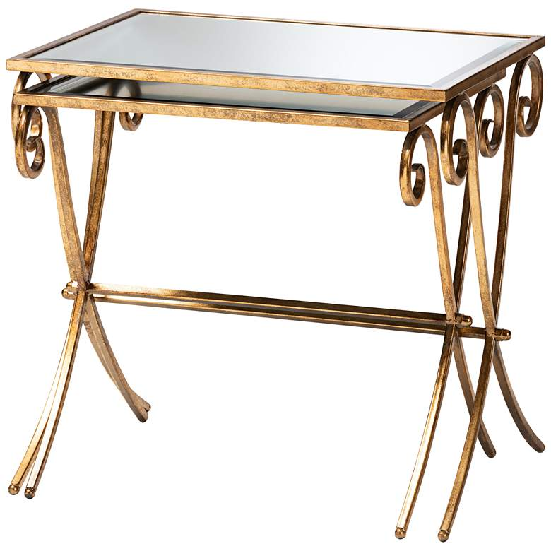 Ambre Antique Gold Stackable Mirrored Accent Tables Set of 2