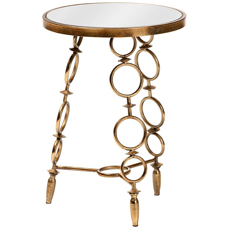 Baxton Studio Inaya Antique Gold Mirrored Top Accent Table