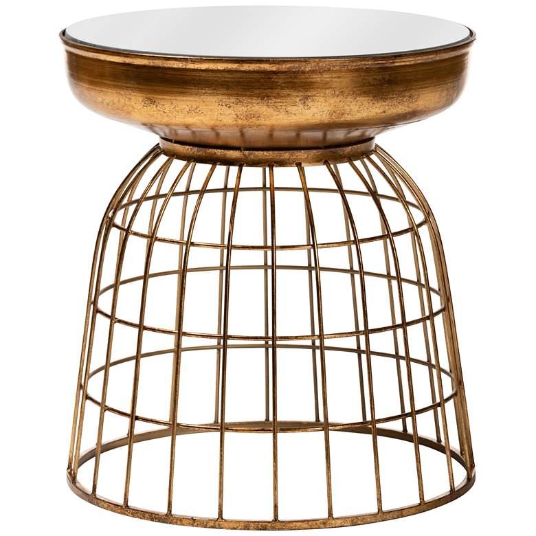 Baxton Studio Andreia Antique Gold Cage Mirror Accent Table