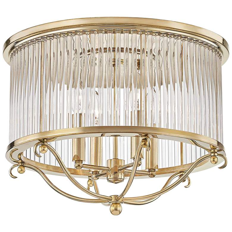 "Glass No.1 19"" Wide Aged Brass Crystal Rods Ceiling Light"