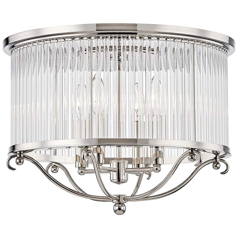 "Glass No.1 19""W Polished Nickel Crystal Rods Ceiling Light"