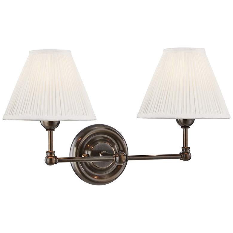 "Classic No.1 10 1/2""H Distressed Bronze 2-Light Wall Sconce"