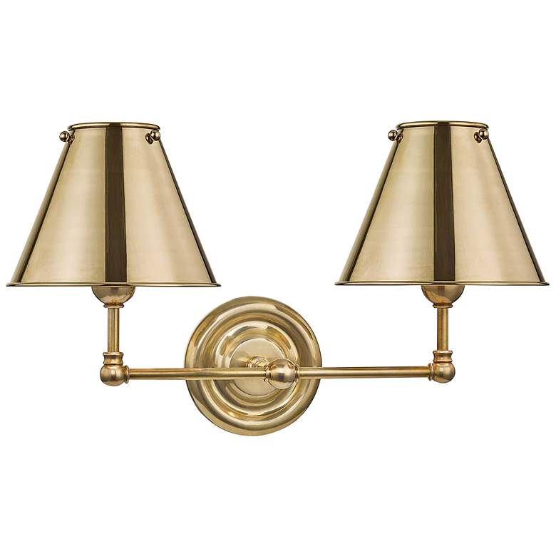 """Classic No.1 12 1/4"""" High Aged Brass Shade Wall Sconce"""
