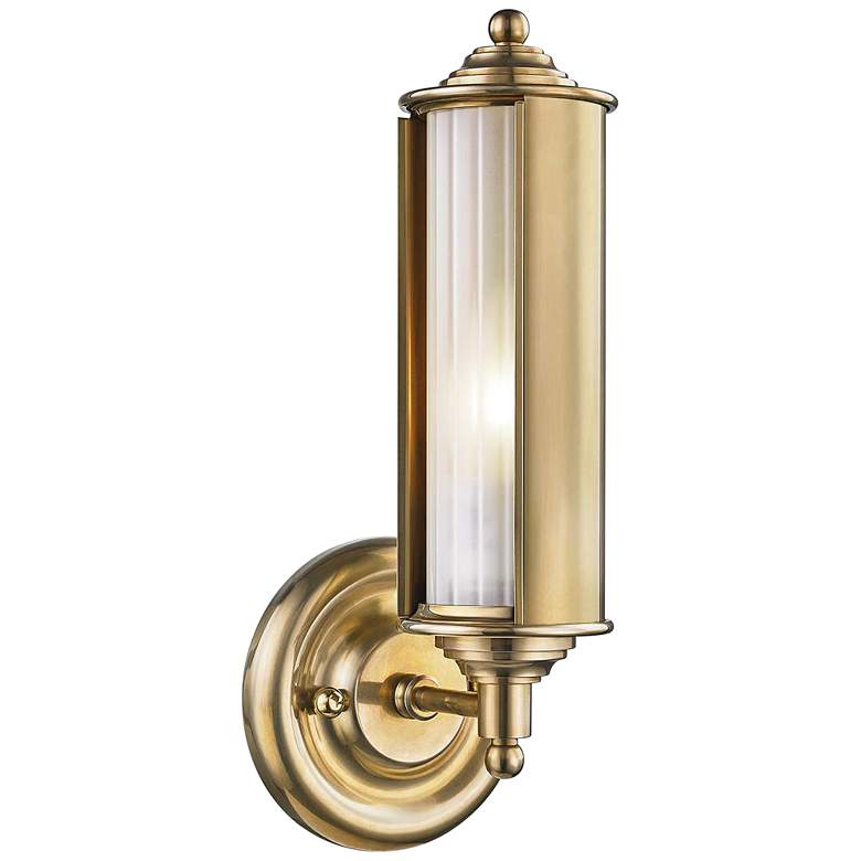 """Classic No.1 12 1/4"""" High Aged Brass Tube Wall Sconce"""