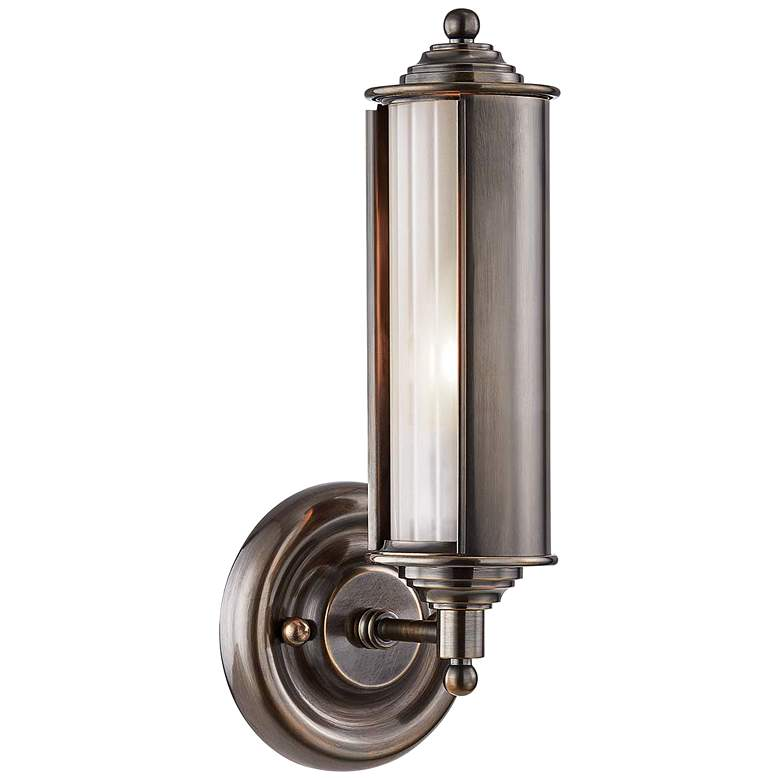 "Classic No.1 12 1/4"" High Distressed Bronze Tube Wall Sconce"