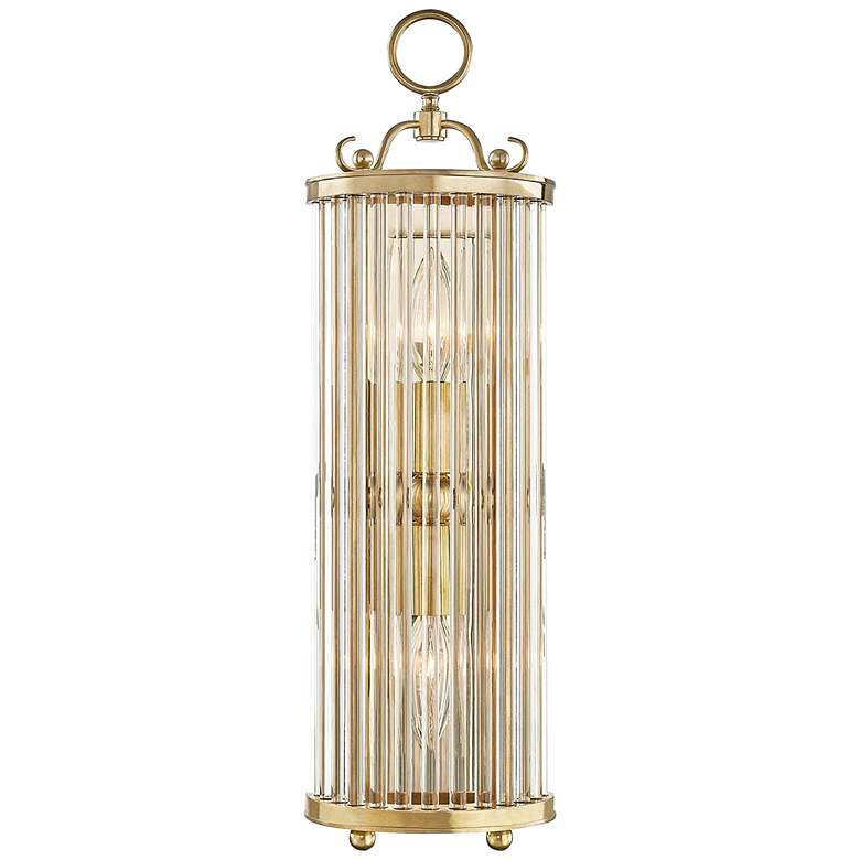 "Glass No.1 19"" High Aged Brass and Crystal Wall Sconce"