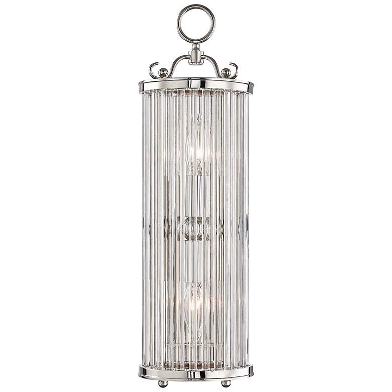 """Glass No.1 19"""" High Polished Nickel and Crystal Wall Sconce"""