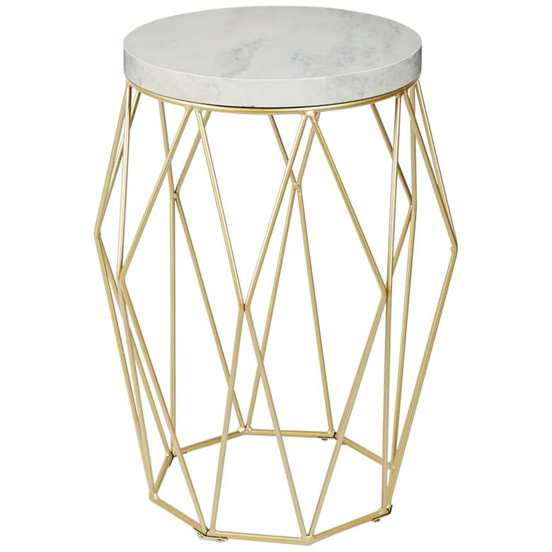 Bellewood Gold Open Basket with Faux Marble Top Accent Table