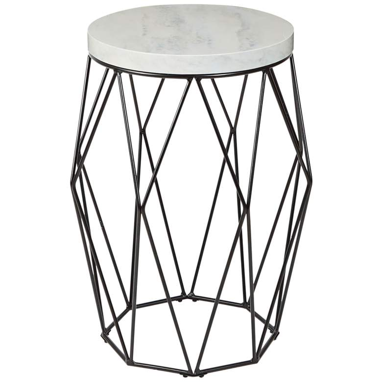 Bellewood Black Open Basket with Faux Marble Accent Table