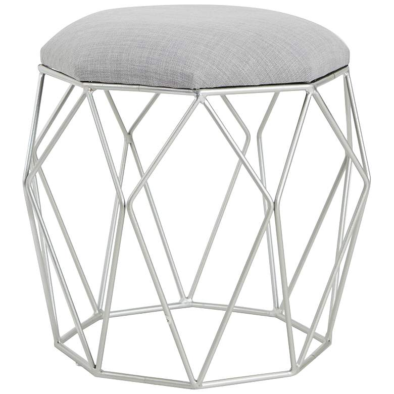 Collins Silver Geometric Open Cage Vanity Stool