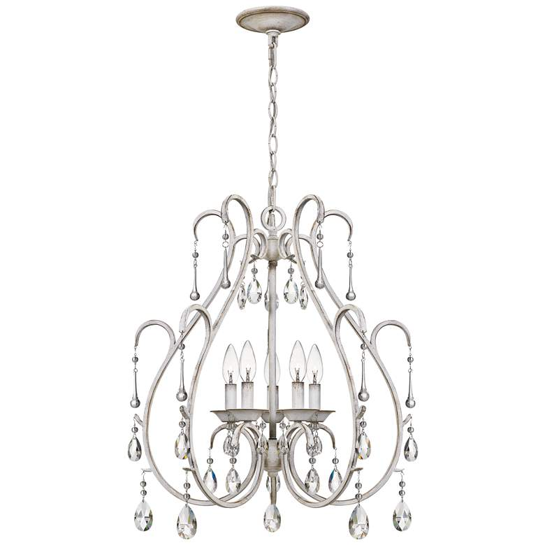 "Quoizel Blanca 22 3/4"" Wide Antique White 5-Light Chandelier"