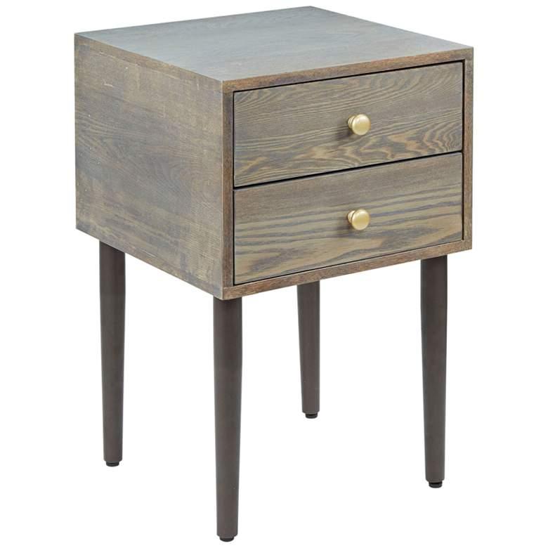 "Hepburn 15 3/4"" Wide Graphite 2-Drawer Modern Side Table"