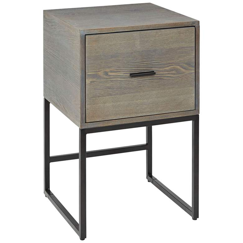 """Langley 15 3/4"""" Wide Graphite 1-Drawer Modern Side Table"""