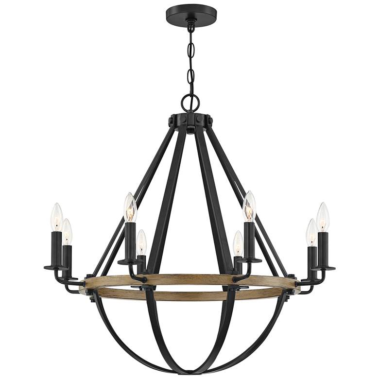 "Quoizel Bartlett 30"" Wide Earth Black 8-Light Chandelier"