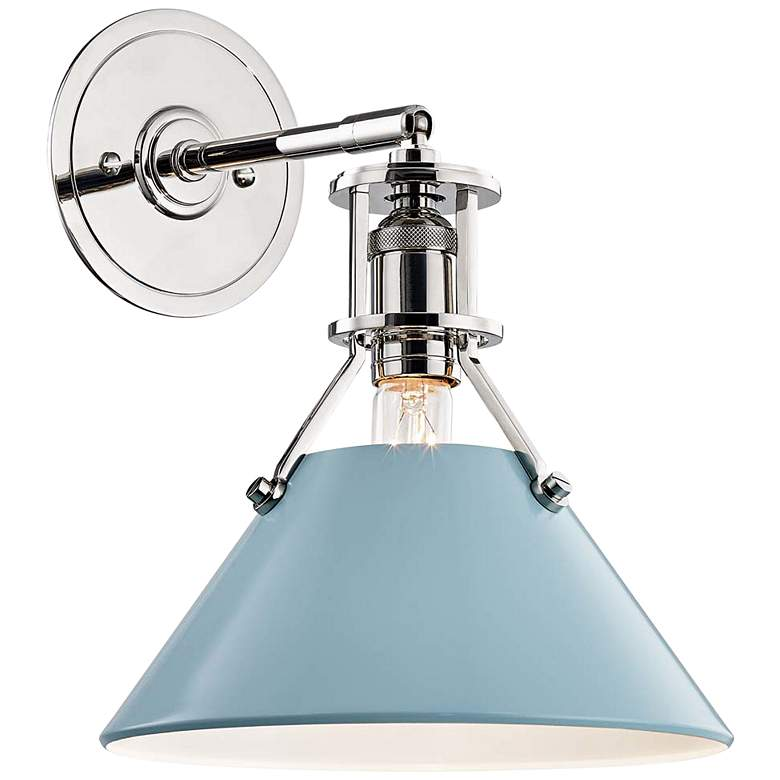 """Painted No.2 11""""H Polished Nickel Sconce w/ Blue Bird Shade"""