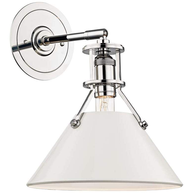 """Painted No.2 11""""H Polished Nickel Sconce w/ Off-White Shade"""