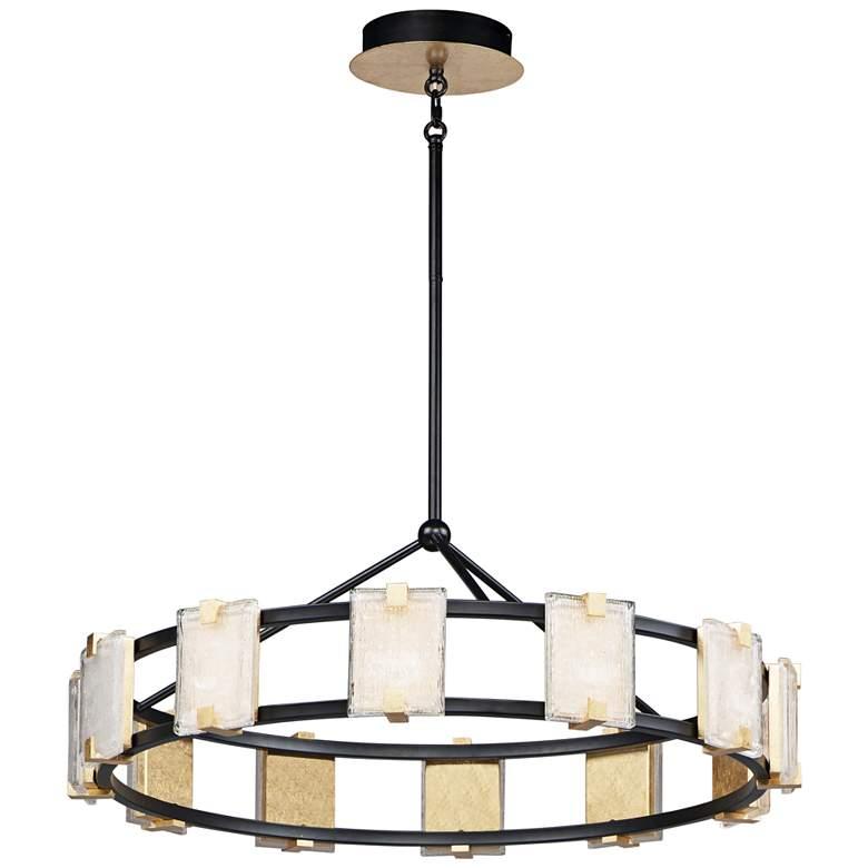 """Radiant 34 3/4"""" Wide Black and Gold Leaf LED Pendant Light"""