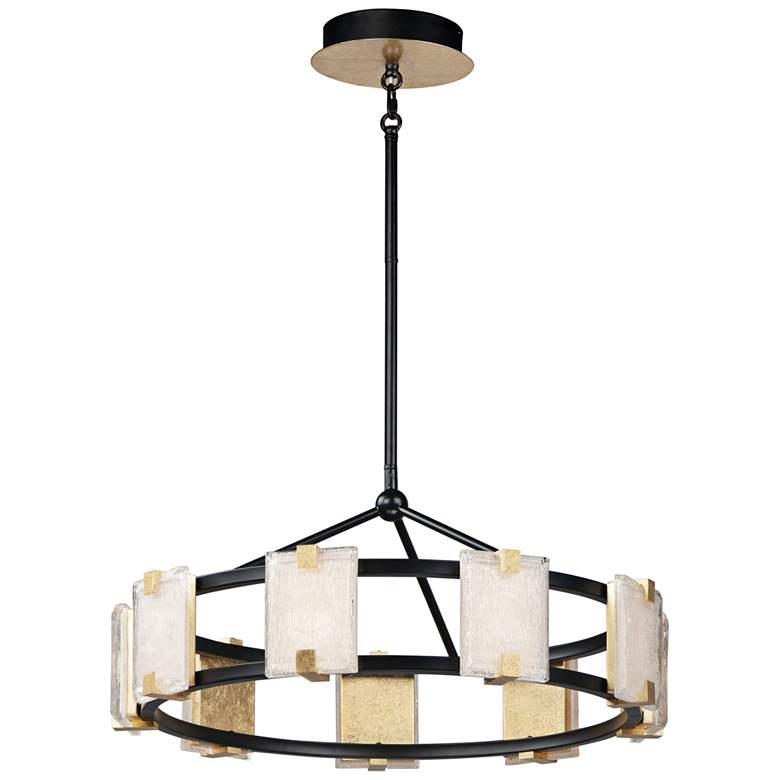 """Radiant 26 3/4"""" Wide Black and Gold Leaf LED Pendant Light"""