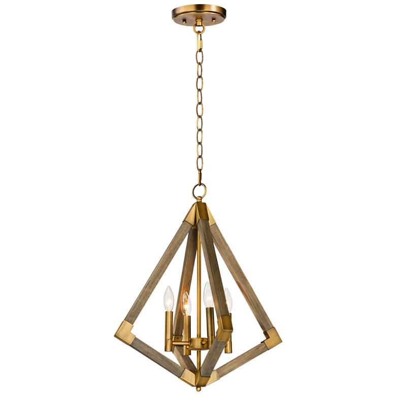 "Vector 19 1/4""W Weathered Oak w/ Antique Brass Pendant Light"