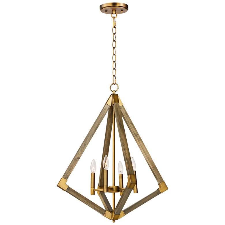 "Vector 24"" Wide Weathered Oak w/ Antique Brass Pendant Light"